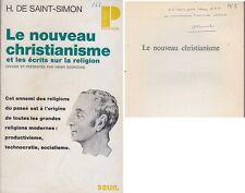 C1 Socialisme SAINT SIMON Le NOUVEAU CHRISTIANISME Henri DESROCHE Envoi DEDICACE