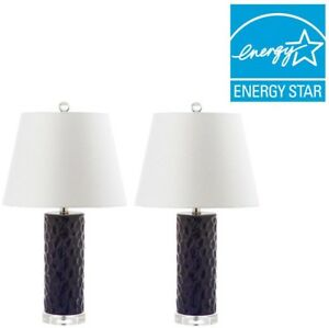 Table Lamp 23.5 in. Ceramic Navy Base with Off-White Empire Shade (Set of 2)