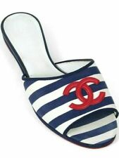 NEW w BOX Chanel Slides Mule Sandals Striped Navy Red CC Fabric Flats Shoes 39.5
