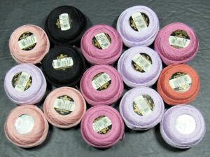 15x Needlepoint/Embroidery THREAD DMC 12 Pearl cotton-black, mixed-ZZ608
