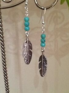 Silver Feather & Turquoise Glass Bead Long Drop Dangly Earrings ~ Bohemian Hippy