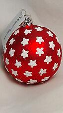 "3"" Christborn Germany Mercury Glass Patriotic Red White Star Ball Ornament NWT"