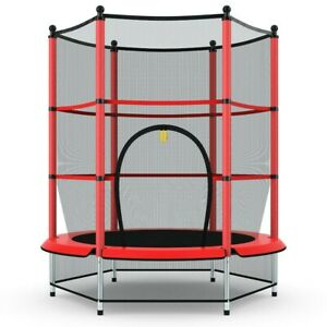 Kids Youth Jumping Round Trampoline w/ Safety Pad Enclosure Outdoor Backyard Red