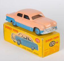 Dinky 170 Ford Fordor Sedan. Rare Low-Line Blue/Salmon Upper. Original 1950s