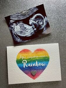 Personalised Rainbow Baby Scan Card / Pregnancy Announcement + Envelope