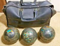 Set of 3 Ebonite Duckpin Bowling Balls 3lbs 8oz Black W/Teal/Orange Swirls W/Bag