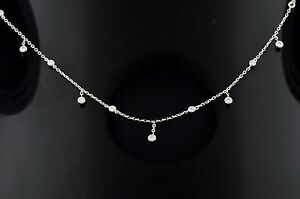 14k Solid White Gold Natural Diamond necklace 0.26 ct dainty cute stylish