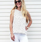 NEW LADIES POLKA DOT TOP BLOUSE WHITE AND BLACK SIZE 8 and SIZE12 ON SALE