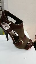 [JayShoes]East Lion women pump open toes stiletto high 5 in.US Shoe Size 7 Brown