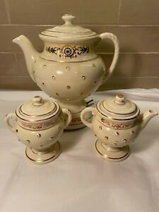Vintage Porcelier 1930s Porcelain Percolator Coffee Pot With Creamer /Sugar Bowl