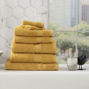 Renee Taylor Stella 650 GSM Bamboo Cotton Bath Towel Pack & Individual Mustard