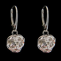 FASHIONS FOREVER® 925 Sterling Silver Blooming Rose Leverback Earrings