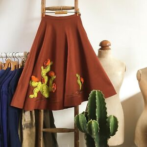 "True Vintage USA 1950s Fay Foster Novelty Appliqué Cacti Skirt UK6 W24"" Rare!"
