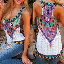 AU Women Boho Floral Print Tank Tops Sleeveless Shirt Loose Vest Blouse Camisole