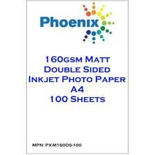 Phoenix 160GSM da ambo i lati opaco A4 INKJET CARTA FOTOGRAFICA - 100 Sheets