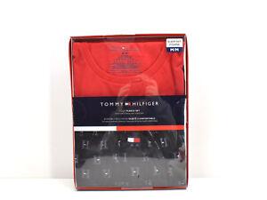 Tommy Hilfiger Men's 2 Piece Fleece Lounge Set Pajamas Black Pants Red Tee M New