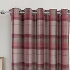 Highland Red Multi Tartan Checked Blackout Curtains With Ring Top Eyelet Header