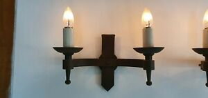 Smithbrook handmade double Candle Wall Light B22, Antique Aged finish, rrp £195