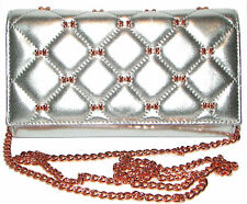 TED BAKER Cambre Quilted Silver Leather Bow Clutch Wallet Purse Crossbody NWT
