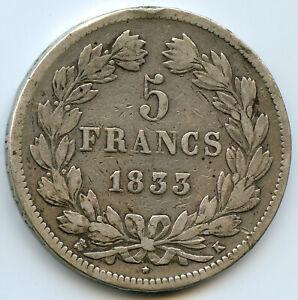 Louis-Philippe I (1830-1848) 5 Francs 1833 K Bordeaux