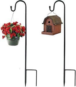 2pcs Shepherd Crook Hook Lanterns Flower Plant Basket Lamp Hanger Garden Decor.