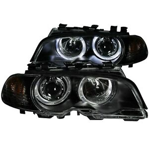 ANZO PROJECTOR HEADLIGHTS BLACK & HALO& CORNER LIGHTS 2PC FOR 00-03 BMW 3 SERIES