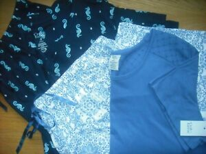 "Womens NWT PLUS SZ Pajamas 2 SETS SS Top/17"" & 21"" Capri Pants Seahorse Croft 3X"