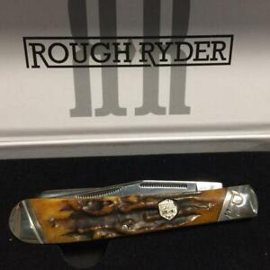 """Rough Ryder Brown Stag Bone Trapper 4 1/8"""" Pocket Knife  RR1789"""