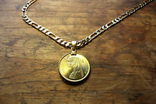 """MENS Cleopatra Egypt DIAMOND CLEAR COATED Coin Pendant 18K 20"""" GOLD FILLED CHAIN"""