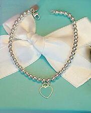 TIFFANY & CO. Mini Blue Enamel Heart Bead Bracelet w Pouch  *Authentic*