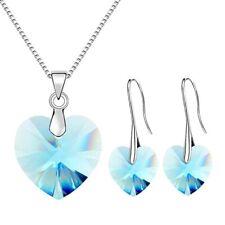 Fashion Silver Lake Blue Zircon Heart Pendant Necklace Earrings Jewelry Set