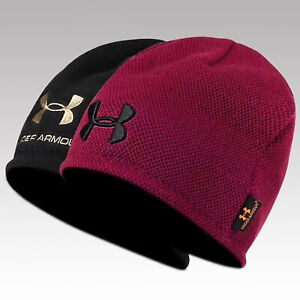 Men's Under Armour Hat 2Colors Reversal Beanie Warm Knit Hat - Wine Red/Black