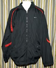 Killer Nike Black Windbreaker Jacket Full Zip Swoosh Size XXL