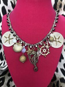 Betsey Johnson Vintage Nautical Shell Locket Seahorse Starfish Coin Necklace