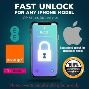 Unlock Code service iPhone 11 PRO,11,MAX,XS,XS MAX XR X,SE,8,7,6,5,4 EE UK