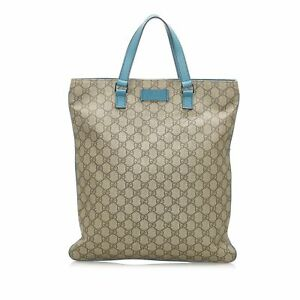 Pre-Loved Gucci Brown Beige Coated Canvas Fabric GG Supreme Tote Bag Italy