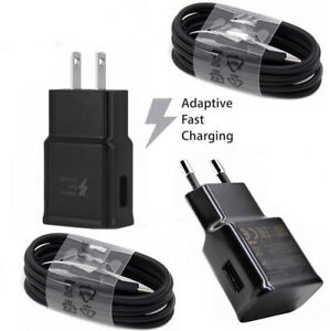 Black Adaptive Fast Wall Charger Plug+Cable For Samsung Galaxy S9 Plus S8 Note 8
