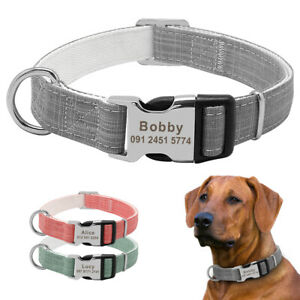 Nylon Dog Collar Personalised Engraved Buckle Custom ID Name Tag Adjustable