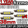 4x 38mm 239 272 SV8.5 6000k BRIGHT WHITE 3 SMD LED FESTOON LIGHT BULB ERROR FREE