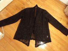 mist  black organdy jacket evening embroidered L