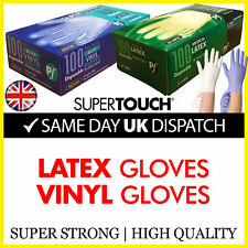 100 Disposable Gloves Latex Vinyl Blue White Medical Powder Free Powdered Strong