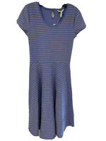 Matilda Jane Women's Periwinkle Blue Striped Exploration Fit and Flare Dress XS
