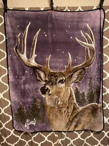 Vintage Al Agnew Deer Buck Blanket Throw Blanket Size 50 X 60