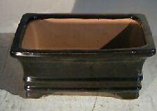 "Glazed Black Ceramic Bonsai Pot Rectangle 6.125"" x 5.0"" x 2.125"" for Plant"