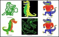 6 Alligator Files Embroidery Digitized Design Run Machine