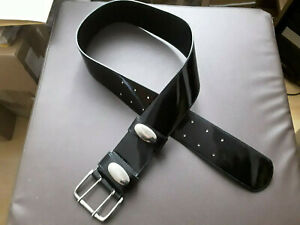 Breiter Lackledergürtel 85 schwarz Lack Leder Gürtel 5,6 cm breit Doppeldorn