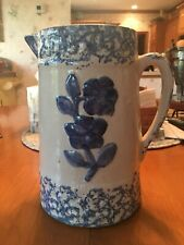 Antigue Spongeware Floral Stoneware Pitcher Blue Cobalt