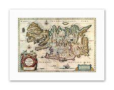 MAP ANTIQUE 1630 BLAEU ICELAND Canvas art Prints