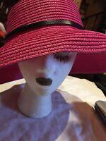 Vintage Magenta Pink Straw Ribbon Wide Brim Hat