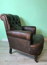 Antique English leather scroll back armchair club chair c1900